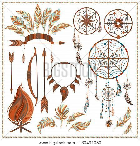 Set of ethnic style. Dreamcatcher. Indian colored decorative components. Isolated arrows, feathers, fire, fang. The design concept. Vector illustration