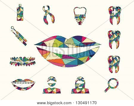 vector illustration of colourful dental on white background