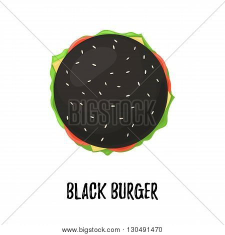 Black Burger with Cheese top view. Cheeseburger on bun black isolated on white background. Vector illustration for web design or print brochure