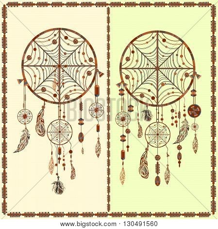 Dream Catcher indian amulet. A set of decorative elements of ethnic circles, beads, spider webs, feathers for design. Vector illustration