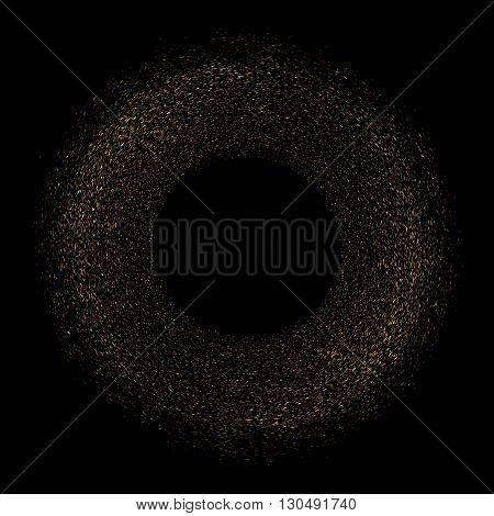 Gold Glittering Texture Circle Vector.