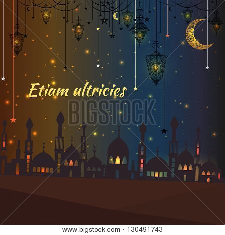 Greeting card with a silhouette of a mosque on the yellow-blue background and glowing lights. Vintage Hanging lights with stars and moon for design. Vector illustration