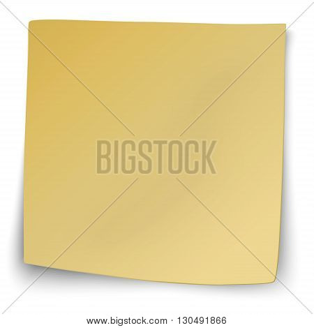 Yellow sticky note with turned up corners isolated on white background
