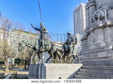 MADRID SPAIN - MARCH 23 2016: Ditail of the Cervantes monument on the Square of Spain (Plaza de Espana). Madrid. Spain.
