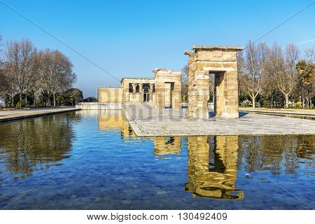 Temple Of Debod Egyptian Antic Architecture In Madrid, Spain