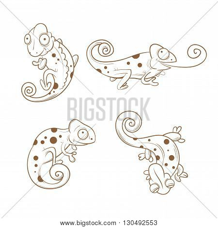 Cartoon cute chameleons set. Four reptiles in different poses. Funny animals. Children's illustration. Transparent background. Vector contour image.