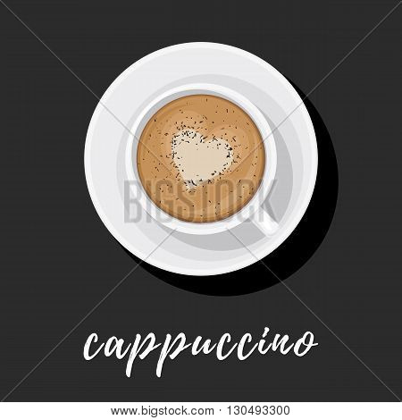 Cappuccino in white Cup on saucer with heart pattern on the foam and sprinkled with chocolate. Vector illustration top view for web design or brochure printing