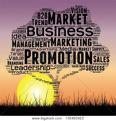 Vector concept or conceptual black media business tree and grass word cloud on sunset sky background
