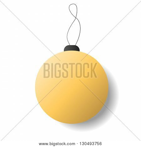 New Year vector  ball icon. 2016 new year in flat style. Golden xmas ball isolaed on white