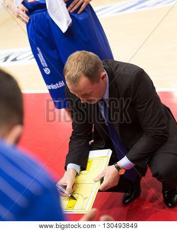 Bc Neptunas Head Coach Kazys Maksvytis During A Timeout