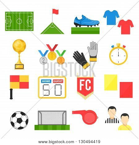 Football soccer sign set. Vector illustration flat style isolated icons on white background