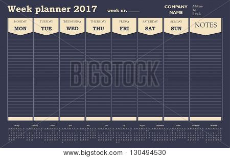 Week planner 2017 calendar for office and private use.