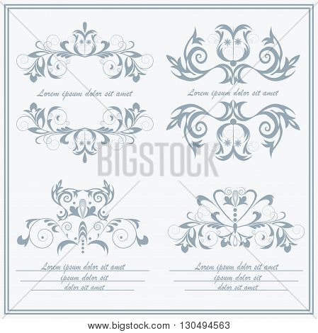 Set of isolated flower, emblems. Ornament elements on a white background for restaurants, jewelry, tattoos, printing. Baroque style. Isolated vector illustration