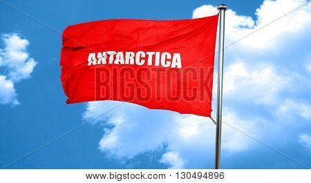 antarctica, 3D rendering, a red waving flag