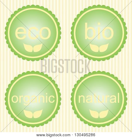Set of pastel green labels with leaves for organic natural eco or bio products