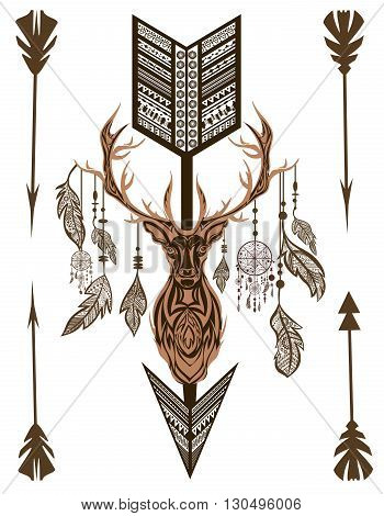 Decorative deer on  white background.  Isolated  with arrow between horn and ornaments in ethno style. Vintage feathers. Isolated vector illustration