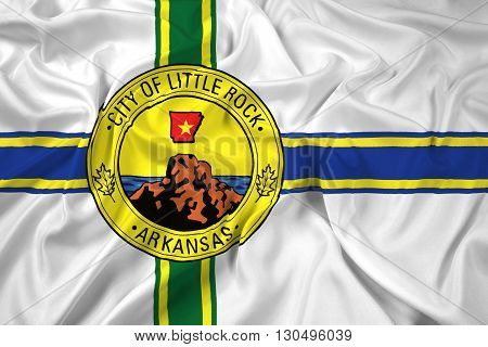 Waving Flag of Little Rock Arkansas, with beautiful satin background
