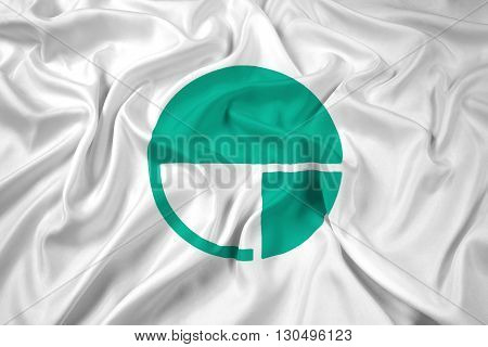 Waving Flag of Nagano Japan, with beautiful satin background