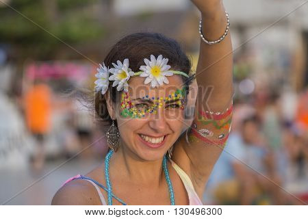 PHANGAN THAILAND - DECEMBER 26 2015 :Unidentified people participate in the Full Moon party on island Koh Phangan. The event now attracts anywhere from 40000 party-goers on a normal month