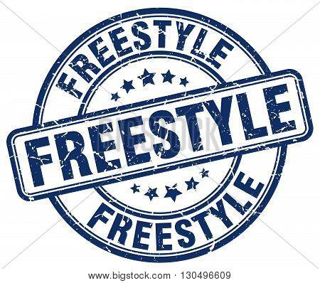 freestyle blue grunge round vintage rubber stamp