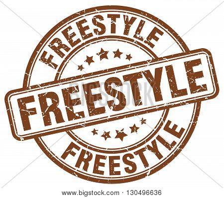 freestyle brown grunge round vintage rubber stamp