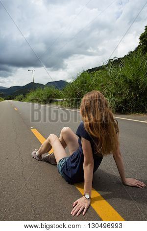 Girl At The Empty Road At Brazil