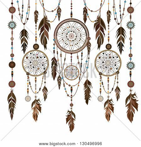 Dream Catcher. Isolated ethnic Indian colored decorative components. Feathers, beads. The concept for the design. Vector illustration