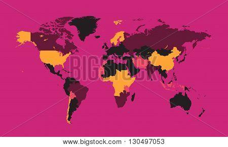 world map flat pink color modern design