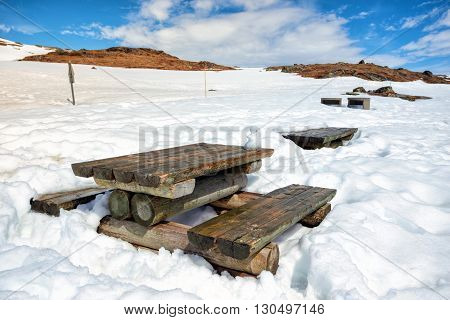 place to rest in the Norwegian mountains - table and benches. Norway