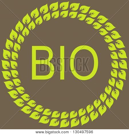 leaf bio frame label and sticker. Vector Background.