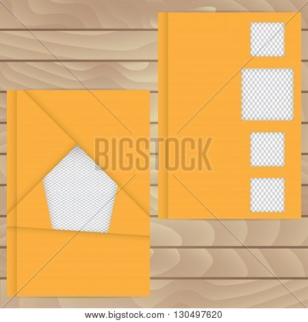 Vector Template For Brochures, Covers, Flyers Or Business Reports. Orange Cover With Insert Their Ph