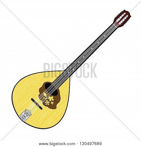 Colorful illustration of Irish Bouzouki isolated on white background