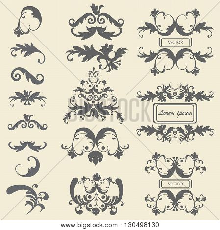 Set monograms, floral ornaments in baroque style. Isolated vintage victorian elements for tattoos, printing, textiles. Vector illustration
