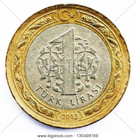 overused one turkish lira on white background