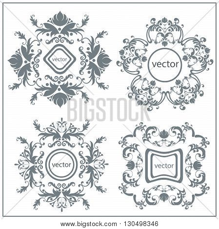 Set logos luxurious flower ornament in baroque style. Victorian frame with an elegant lines for design. Isolated vector illustration
