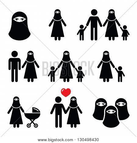 Muslim woman in burqa or burkha, bourkha, burka - family