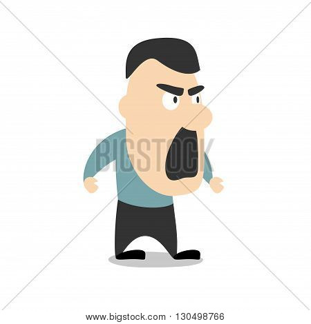 Vector illustration - angry man isolated on white background