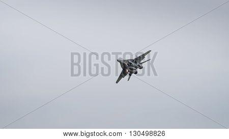 A soviet era MIG 29 in flight