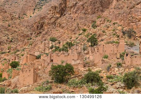 Ruined homes in small village in the Ameln valley on edge of the Ant-Atlas mountains in south west Morocco.