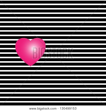 Heart in lines striped background Red heart on a striped black-and-white texture
