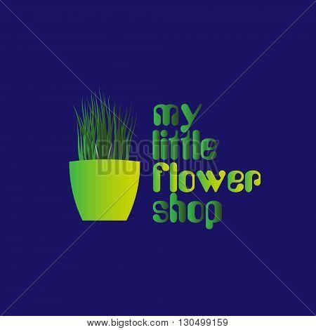 Little flower shop logo Logo pot with grass for the little flower shop