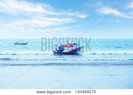 speedboat on qingdao beach