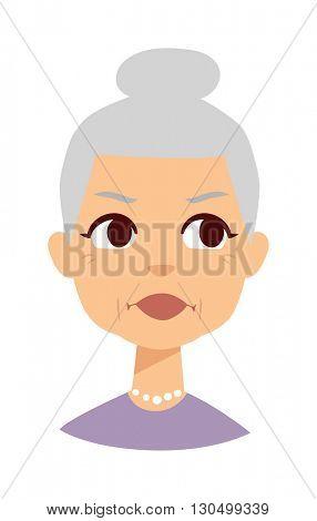 Granny face vector illustration.