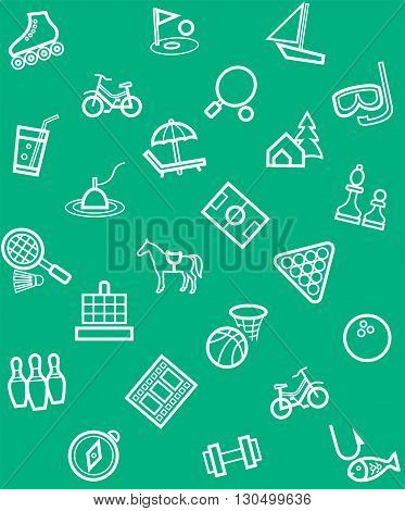 Vector, seamless, green background of linear icons to the theme of entertainment and recreation.