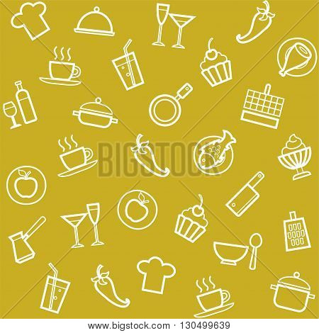 Vector seamless pattern of linear mustard color icons on the theme of drinks and cooking.