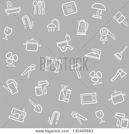 Vector gray seamless pattern with linear icons of household goods.