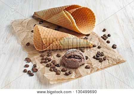 Chocolate Ice Cream And Waffle Cone