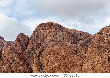 Lion's Face Rock Formation above the Village of Asgaour Ameln Valley near Tafraoute Morocco