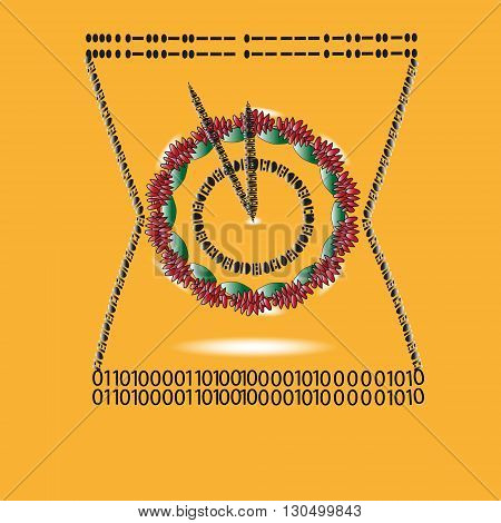 Illustration watch Morse code and binary Drawing on a dark yellow background watch Morse code and binary, hello world, inscribed in the hourglass mechanical watches for decoration and design