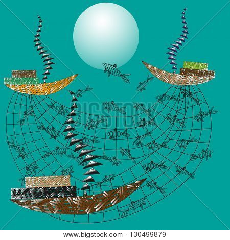 Illustration of fishing at sea Abstract Drawing on a green background fishing in the sea, three boats catch fish school networks for decoration and design